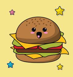 kawaii hamburger food image vector image