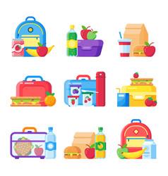 Kids school lunch box schoolkid meal bag vector