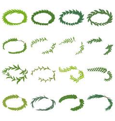 Laurel wreath icons set isometric style vector
