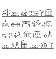Line city urban landscape vector image