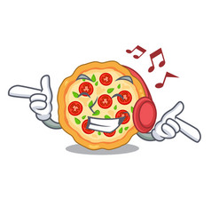listening music margherita pizza isolated with the vector image