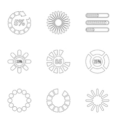 Loading and waiting icons set outline style vector