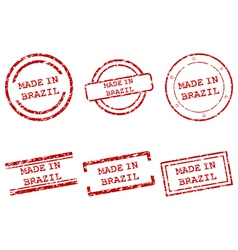 Made in Brazil stamps vector image