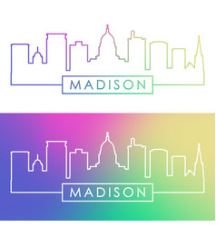 Madison skyline colorful linear style editable vector