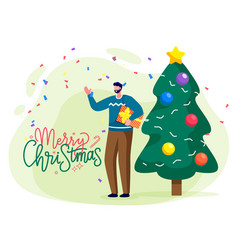 man preparing fir tree for xmas merry christmas vector image