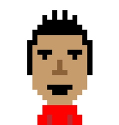 Man red shirt smile emoticon pixel-art character vector