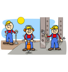 Manual workers or builders group at work vector