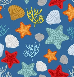 Marine seamless pattern Starfish scallop and vector image