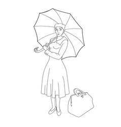 mary woman under an umbrella with a bag vector image