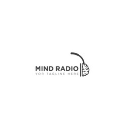 Mind radio and headset logo designs and simple vector