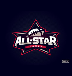 Modern professional emblem all star for american vector
