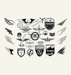 monochrome mega set retro emblems design vector image