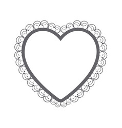 monochrome silhouette heart with decorative frame vector image