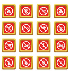 No insect sign icons set red vector