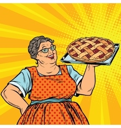 Old joyful retro woman with berry pie vector