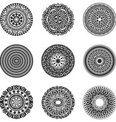 Oriental radial patterns set vector