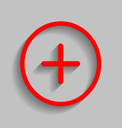 Positive symbol plus sign red icon vector