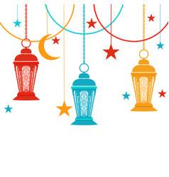 ramadan kareem raznatsvetnye lights in the vector image vector image