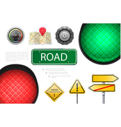 realistic road elements colorful composition vector image