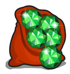 red bag with emeralds isolated on white background vector image