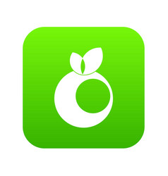 round apple with leaves icon digital green vector image