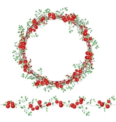 Round wreath with red berries isolated on white vector