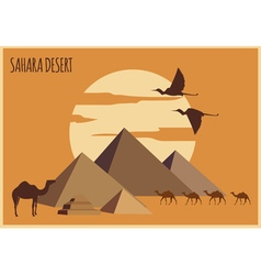 Sahara desert graphic template vector