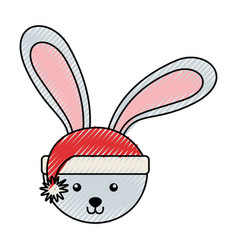 Scribble christmas rabbit face cartoon vector