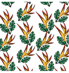 seamless pattern bird of paradise flower leaves vector image
