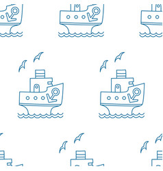 Seamless pattern of blue cartoon ship with anchor vector