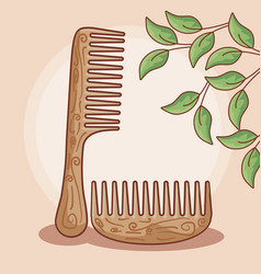 Set hair combs wooden with leafs vector