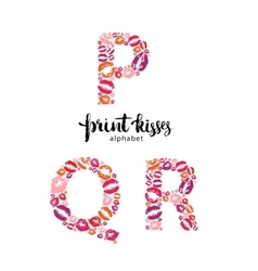 set letters p q and r made from print kisses vector image