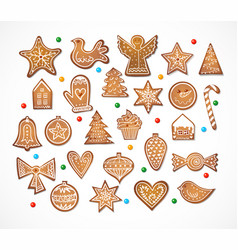 set of 25 realistic gingerbread cookies isolated vector image