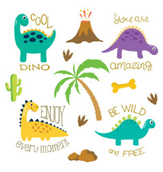 Set of cute dino images vector