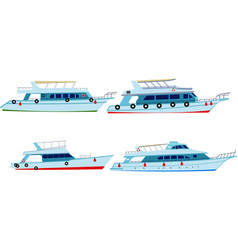 set of motor yachts vector image