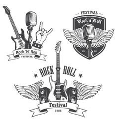 Set rock and roll music emblems vector