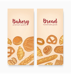 Set vertical banner templates with tasty breads vector