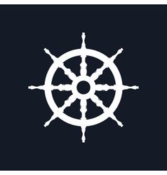 Ship Wheel Isolated on Black Background vector