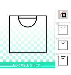 shopping bag simple black line package icon vector image