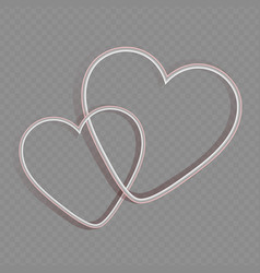 Silhouette two intertwined hearts white vector