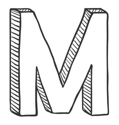 Single doodle sketch - the letter m vector