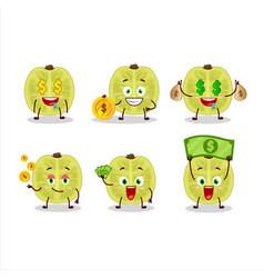 Slice amla cartoon with cute emoticon bring money vector