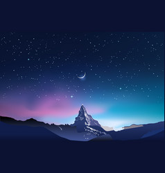 Snowy mountains pink and blue night sky landscape vector