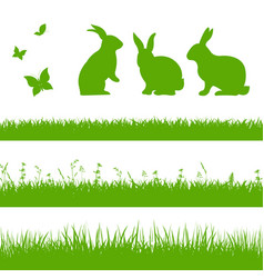 Spring grass border with rabbits vector