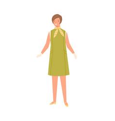stylish young woman wearing fashionable dress vector image
