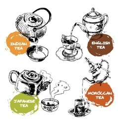 Teapot and cups icons set vector