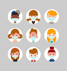 teens and kids avatar collection cute children vector image