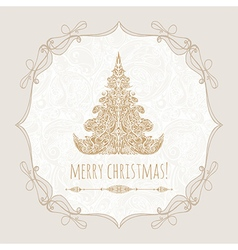 template poster with gold christmas tree vector image