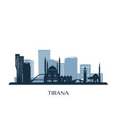 Tirana skyline monochrome silhouette vector