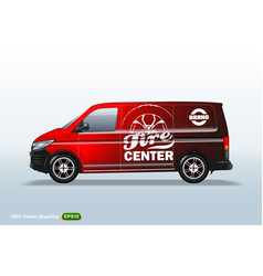 tire center red delivery van template with vector image